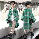 毛呢大衣男童外套 男孩洋氣格子外套 中長款外套 男童外套韓版外套 秋季中大童百搭夾克外套