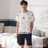 中大碼睡衣 男士夏季棉質短袖家居服夏款可外穿薄款青年套裝 QX6212  【棉花糖伊人】