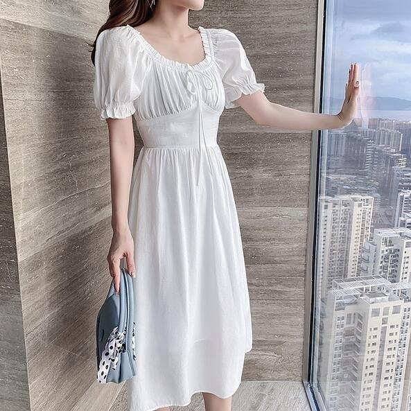 洋裝甜美連身裙S-XL泡泡袖方領氣質連衣裙女高腰鬆緊顯瘦中長款兩穿G565B-6018.胖胖唯依