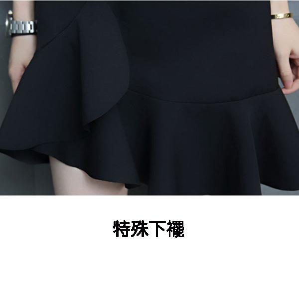 韓版兩件式條紋 素面上衣搭吊帶魚尾裙襬孕婦洋裝 黑【CQH900802】孕味十足 孕婦裝