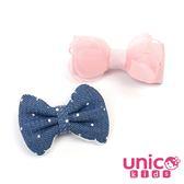 UNICO 兒童雪紡蝴蝶結搭配牛仔點點蝴蝶全包布髮夾-2入組