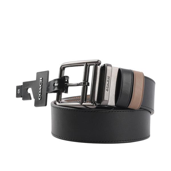 【COACH】素面精緻牛皮雙面可用皮帶(黑色/奶茶色) C5939 QBQDS