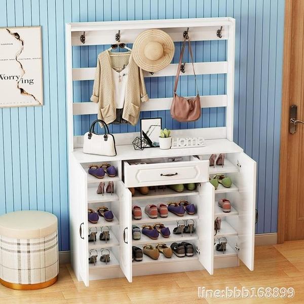 鞋櫃 多功能簡約現代歐式鞋櫃衣架一體家用門口進門儲物鞋櫃掛衣架鞋架 星河光年DF
