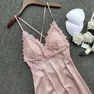 吊帶睡衣 性感睡衣女夏薄款冰絲吊帶睡裙子帶胸墊火辣誘惑騷蕾絲邊內衣