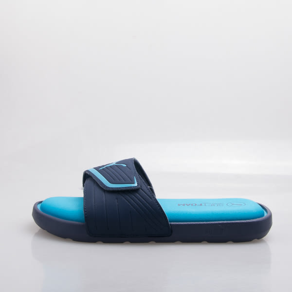 PUMA  記憶鞋墊 超柔軟 運動拖鞋-藍/水藍 362463-02