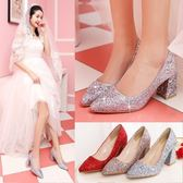 婚鞋女2019新款銀色高跟水晶鞋結婚鞋子紅色新娘鞋粗跟婚紗伴娘鞋 愛丫愛丫