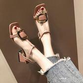 羅馬涼鞋女仙女風夏季沙灘鞋方頭一字扣粗跟高跟鞋潮   歌莉婭