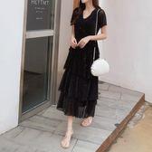 【免運】大碼女裝夏裝新款洋氣胖妹妹藏肉遮肚子網紅法國小眾連衣裙顯瘦潮