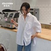 早秋新款復古港味慵懶風白襯衫女設計感小眾韓版寬鬆薄款長袖上衣 雙十一爆款