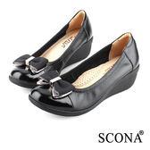 SCONA 全真皮 輕盈舒適鑽飾厚底鞋 黑色 22423-1