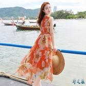 沙灘裙雪紡波西米亞連身裙女2020年新款海邊度假無袖夏天顯瘦長裙 FX8020