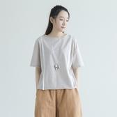 五分袖T恤-純棉圓領簡約寬鬆舒適休閒女上衣2色73nl15【巴黎精品】