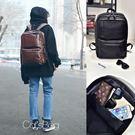 韓學院風格大容量皮革雙肩透氣減壓後背包 ...