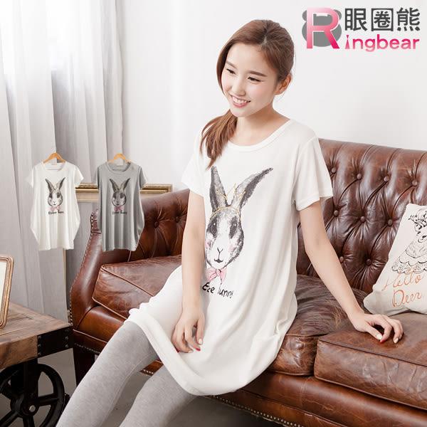 洋裝--童趣可愛兔子蝴蝶結皇冠印圖圓領短袖長上衣/洋裝(白.灰M-2L)-D320眼圈熊中大尺碼