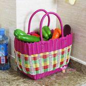 野餐籃 塑料編織購物籃買菜籃子手提籃子寵物籃洗浴筐洗澡籃收納筐T 多色