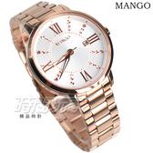 (活動價) MANGO 原廠公司貨 浪漫清新 羅馬時刻 不鏽鋼女錶 防水手錶 玫瑰金電鍍 MA6734L-80R