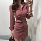 襯裙 赫本風桔梗法式小眾復古輕熟風襯衫紅色連衣裙女春秋收腰顯瘦氣質 莎瓦迪卡