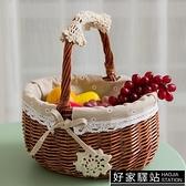 野餐籃水果籃藤編購物籃收納籃雞蛋籃編織籃小籃子竹籃手提籃菜藍