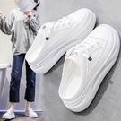 增高涼鞋 小白女鞋2021年新款夏季厚底外穿無後跟網紅懶人涼拖鞋包頭半拖鞋 端午節特惠