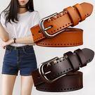 皮帶女休閒百搭簡約韓版女士腰帶裝飾時尚韓國針扣牛仔褲帶寬  卡布奇諾