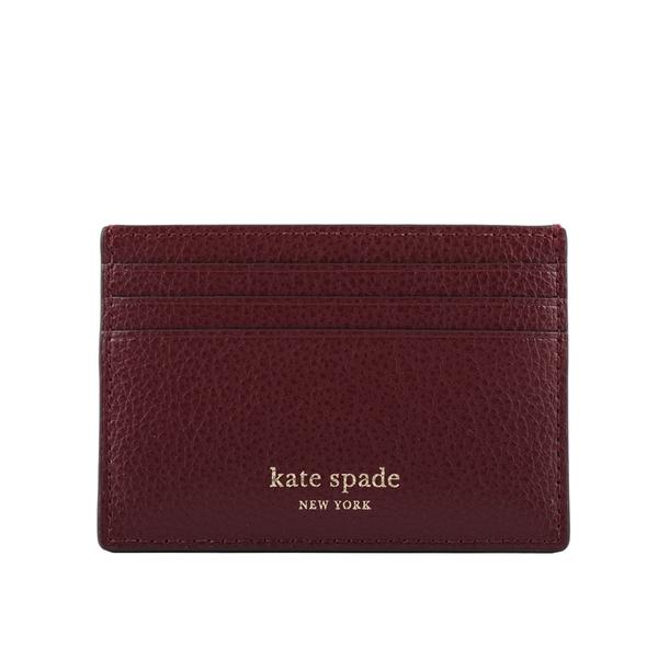 【KATE SPADE】素面荔枝皮革卡片夾(酒紅色) WLRU6277 610