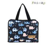 收納袋 包包 防水包 雨朵小舖 M235-349 小精靈收納袋-黑泡泡小象14290 funbaobao