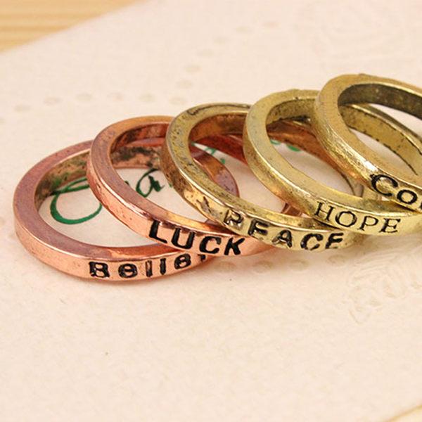 【TT61】歐美韓國飾品 復古簡約清晰 刻字母 幸運 愛 許願戒指 戒指