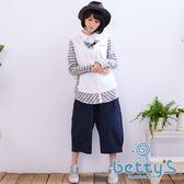 betty's貝蒂思 日系造型寬鬆七分褲(藍色)