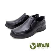 【南紡購物中心】W&M(男)圓頭素面莫卡辛 樂福鞋 開車鞋 男鞋 -黑(另有棕)