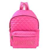 【台中米蘭站】全新品 MOSCHINO 尼龍菱格桃漆皮logo後背包-大(桃)