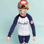 兒童泳衣 條紋 運動 防曬 五分褲 兩件式 長袖 兒童泳裝【SFC6133】 BOBI  07/06