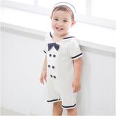 短袖連身衣 造型服 海軍領 水手服 男寶寶 爬服 哈衣 附帽子 Augelute Baby 32016
