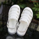包頭涼鞋女防滑軟底護士白色洞洞鞋