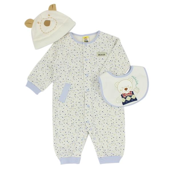 【愛的世界】點點純棉長袖衣連褲禮盒/6M~1歲-台灣製- ---禮盒推薦
