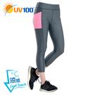 UV100 防曬 抗UV-涼感彈力剪接八分韻律褲-女