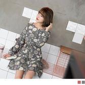 《DA5044-》滿版蒲公英抽繩高含棉洋裝 OB嚴選