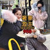 克妹Ke-Mei【AT40871】歐美時髦感奢華激澎仿狐狸毛腰抽繩連帽大衣外套