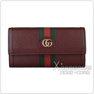 GUCCI Ophidia 雙G LOGO綠紅綠織帶設計豚皮12卡扣式長夾(酒紅)
