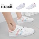 [Here Shoes]休閒鞋-皮質雙條雷射邊條 粉嫩色系 清新舒適 小白鞋 布鞋-KNWY21