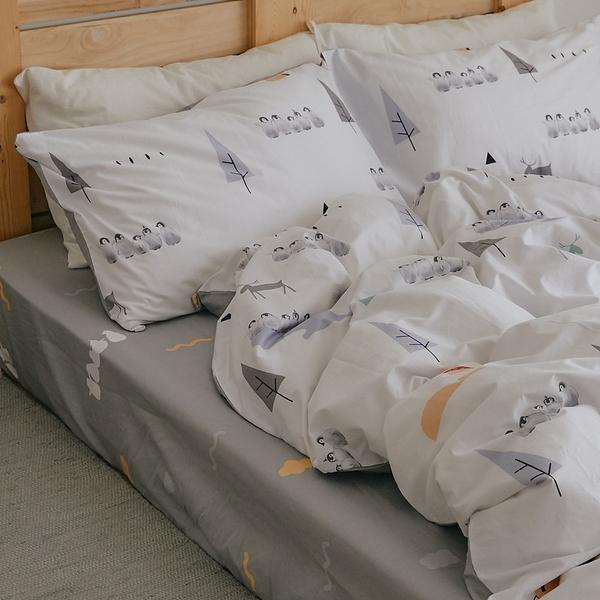 純棉 床包被套組(鋪棉被套) 雙人【小鎮】ikea風 100%精梳棉 翔仔居家