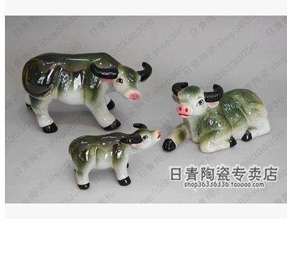 景德鎮 雕塑動物瓷器 吉祥三寶 牛 現代家居擺設3個組