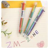創意 可愛 多色 圓珠筆 學生 伸縮筆 彩色 個性 油筆 文具 6色筆