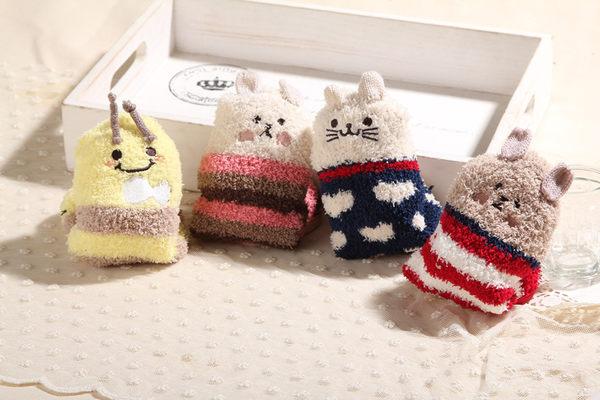 ☆ 莎 LALA【D11-112】日森系中筒襪睡眠襪子-(5色‧現貨)半邊絨卡通剌繡家居襪地板襪