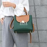 手提包  包包女撞色水桶包簡約手提包韓版時尚百搭個性單肩斜背包 『伊莎公主』