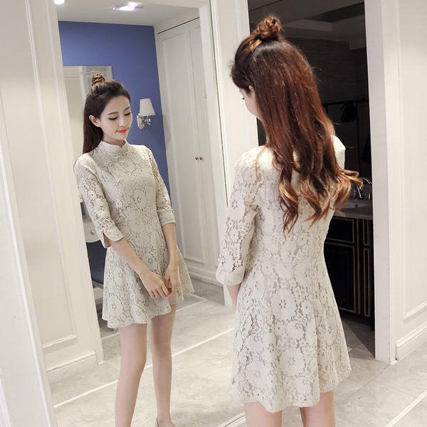 均一價399 純色復古蕾絲改良式旗袍長袖洋裝