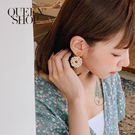 Queen Shop【07030548】編織圓形方釦耳針式耳環*現+預*