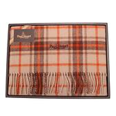 PAUL STUART經典蘇格蘭格紋羊毛披肩禮盒(橘紅色)989907