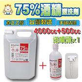 酒精1+1組合【阿囉哈LED大賣場】75%酒精潔淨液-3780ml/桶x1+500ml/瓶x1+噴頭x1