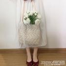 春夏仙女蕾絲百搭大容量水桶手提草編編織女包包單肩小清新購物袋『新佰數位屋』