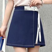 2018夏季新款學生絲帶黑藍內襯清新高腰短裙顯瘦A字裙女半身裙子